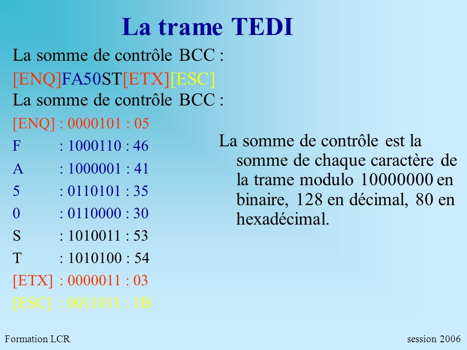 La trame TEDI La somme de contrôle BCC : [ENQ]FA50ST[ETX][ESC]